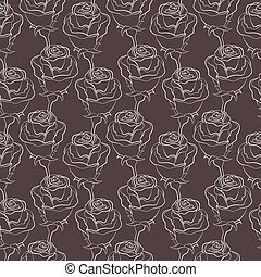 Seamless vector background with roses. Vector