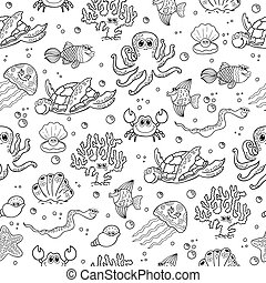 Seamless vector background with sea animals..