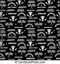 Seamless vector background with symbols of racing.