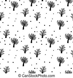 Seamless vector background with trees
