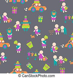 Seamless vector background,shopping people