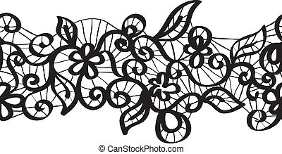 Seamless vector black lace with floral pattern