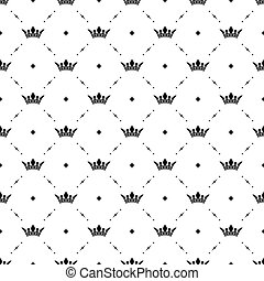 Seamless vector black pattern with king crowns