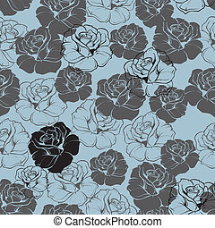 Seamless vector blue floral pattern