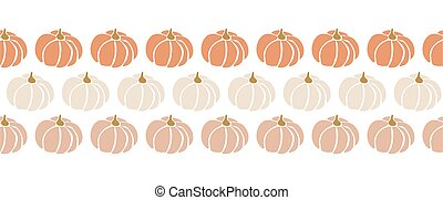 Seamless vector border pumpkins. Repeating pattern design for Harvest festival or Thanksgiving day. Feminine earthy colors. Use for greeting cards, footer, header, banner, ribbon, fabric trim