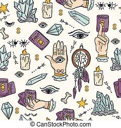 Seamless Vector Border Spiritual Symbols Tarot Card