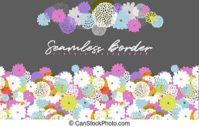 Seamless vector border with lemon, white, blue, pink stylized doodle flowers on gray background.
