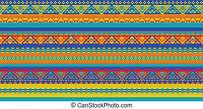 Seamless vector carpet. Folk ornament in the style of embroidery. Pixel decorative pattern for textiles. orange, blue, red colors