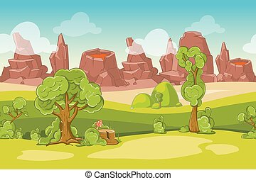 Seamless vector cartoon nature landscape with trees, rocks and volcanoes