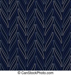 Seamless vector chevron pattern based on traditional mexican ornament in monochrome blue and black colors. Endless ethnic background