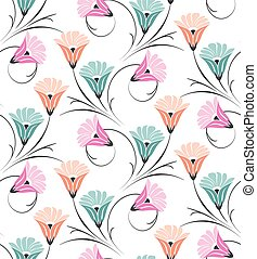 Seamless vector cute floral pattern on white background