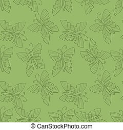 Seamless vector doodle illustration with butterfly over green background