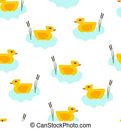 Seamless vector duck in blue water pattern