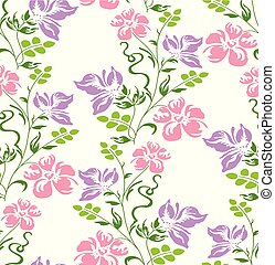 Seamless vector fancy floral wallpaper