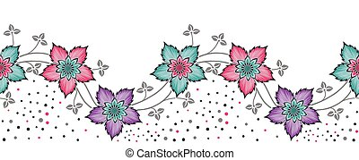 Seamless vector floral border design on white background