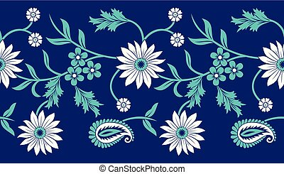 Seamless vector floral border