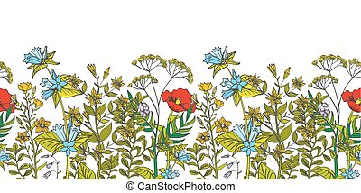 Seamless vector floral border with colored herbs and wild flowers