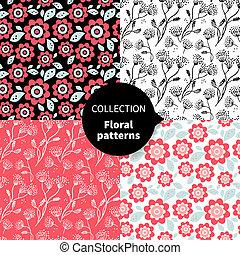 seamless, vector, floral model, set