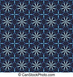 Seamless vector floral pattern based on Arabic geometric ornaments in blue and black colors. Endless abstract background