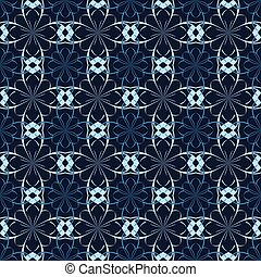 Seamless vector floral pattern based on Arabic geometric ornaments in blue, white, black colors. Endless abstract background