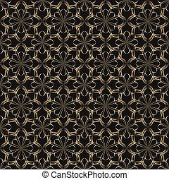 Seamless vector floral pattern based on Arabic geometric ornaments in gold and black colors. Endless abstract background