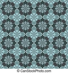 Seamless vector floral pattern based on Arabic geometric ornaments in monochrome blue-gray colors. Endless abstract background