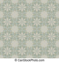 Seamless vector floral pattern based on Arabic geometric ornaments in monochrome gray colors. Endless abstract background