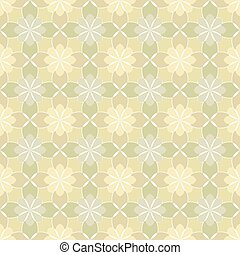 Seamless vector floral pattern based on Arabic geometric ornaments in pastel beige colors. Endless abstract background