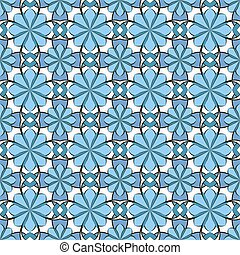 Seamless vector floral pattern based on Arabic geometric ornaments in pastel blue and white colors. Endless abstract background