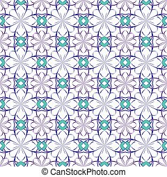 Seamless vector floral pattern based on Arabic geometric ornaments in pastel blue, purple, white colors. Endless abstract background