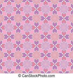 Seamless vector floral pattern based on Arabic geometric ornaments in pastel pink colors. Endless abstract background