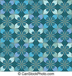 Seamless vector floral pattern based on Arabic geometric ornaments in pastel shades of blue colors. Endless abstract background