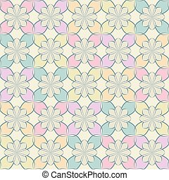 Seamless vector floral pattern based on Arabic geometric ornaments in soft pastel colors. Endless abstract background