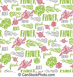 Seamless vector floral pattern, freehand drawing - flowers...
