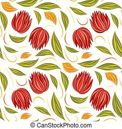 Seamless vector floral pattern with abstract flowers and leaves in bright natural colors on white background
