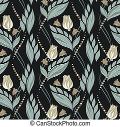 Seamless vector floral pattern with abstract flowers and leaves in gold and silver colors on black background