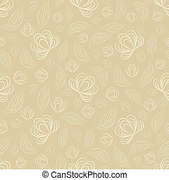 Seamless vector floral pattern with abstract flowers and leaves in light pastel colors on beige background