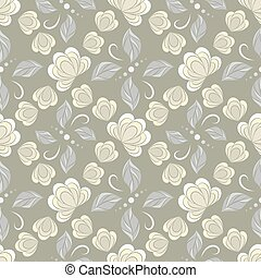 Seamless vector floral pattern with abstract flowers and leaves in light pastel colors on gray background