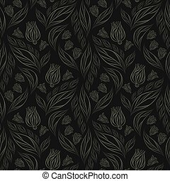 Seamless vector floral pattern with abstract flowers and leaves in monochrome gray colors on black background