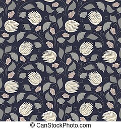 Seamless vector floral pattern with abstract flowers and leaves in monochrome gray colors on dark background
