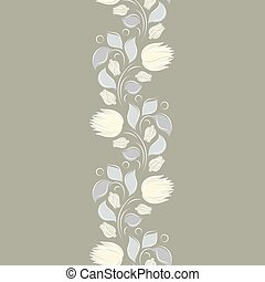 Seamless vector floral pattern with abstract flowers and leaves in monochrome gray pastel colors. Endless vertical border