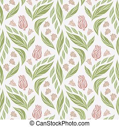 Seamless vector floral pattern with abstract flowers and leaves in natural colors on white background