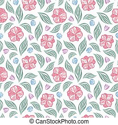 Seamless vector floral pattern with abstract flowers and leaves in natural colors on white background. Endless ornamental print
