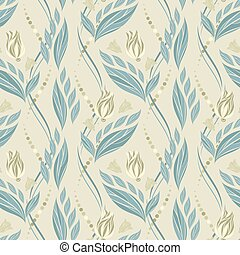 Seamless vector floral pattern with abstract flowers and leaves in pastel blue colors on light background