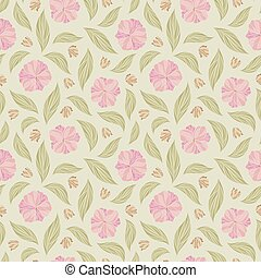 Seamless vector floral pattern with abstract flowers and leaves in pastel colors on light background. Endless ornamental print