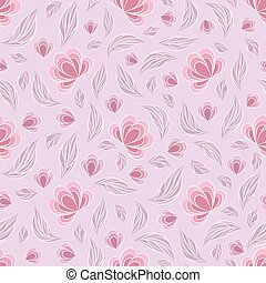 Seamless vector floral pattern with abstract flowers and leaves in pastel pink colors on light background