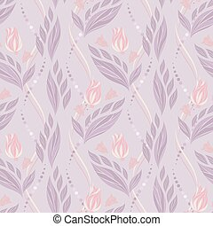 Seamless vector floral pattern with abstract flowers and leaves in pastel purple colors on light background