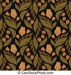 Seamless vector floral pattern with abstract flowers and leaves in pink and green colors on black background