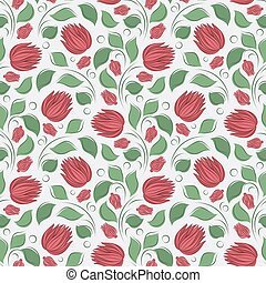 Seamless vector floral pattern with abstract flowers and leaves in red and green colors on white background