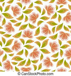 Seamless vector floral pattern with abstract flowers and leaves in red and green colors on white background. Ornate endless print in boho style